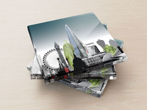 London Skyline With A Twist Ultra Marine - Glass Coasters